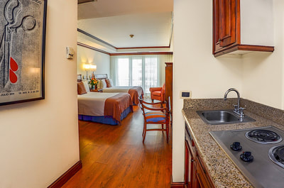Hotel Casa Veranda double bedroom and kitchenette